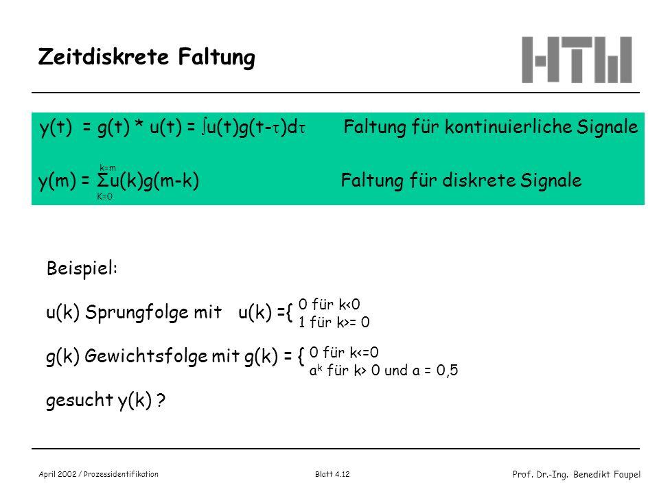 Prof. Dr.-Ing. Benedikt Faupel April 2002 / Prozessidentifikation Blatt 4.12 Zeitdiskrete Faltung y(t) = g(t) * u(t) = u(t)g(t- )d Faltung für kontinu