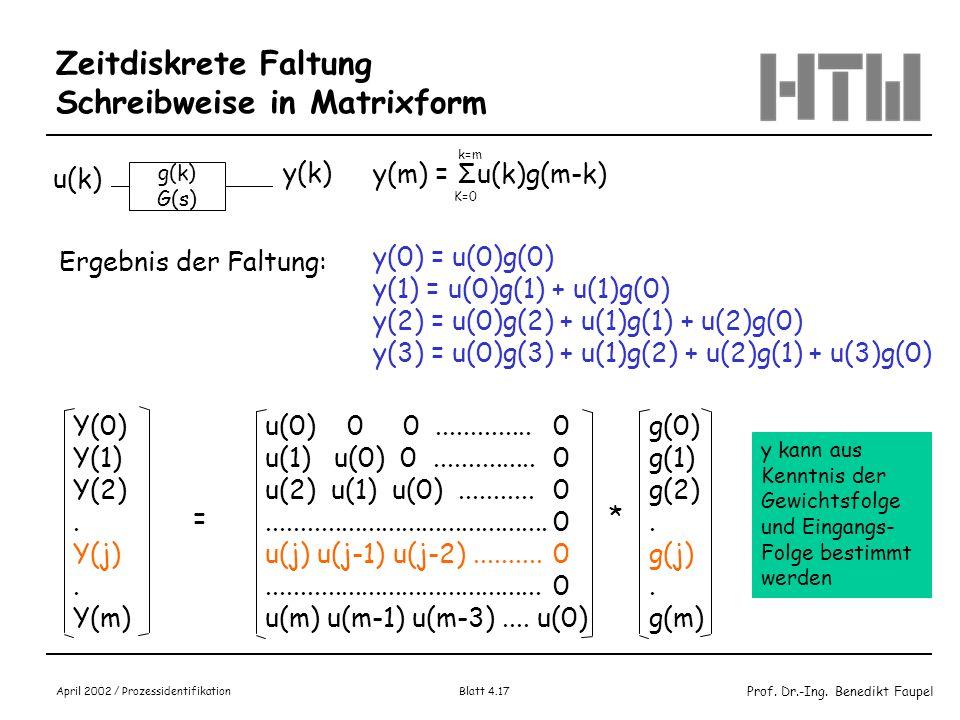 Prof. Dr.-Ing. Benedikt Faupel April 2002 / Prozessidentifikation Blatt 4.17 Zeitdiskrete Faltung Schreibweise in Matrixform g(k) G(s) u(k) y(k) y(m)
