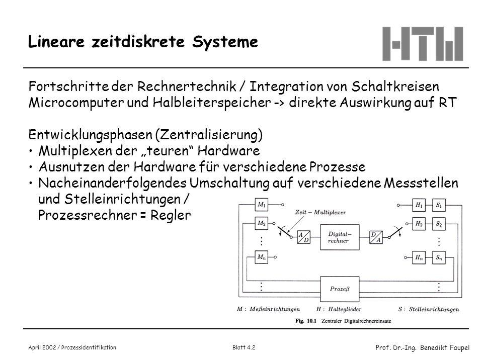 Prof. Dr.-Ing. Benedikt Faupel April 2002 / Prozessidentifikation Blatt 4.2 Lineare zeitdiskrete Systeme Fortschritte der Rechnertechnik / Integration