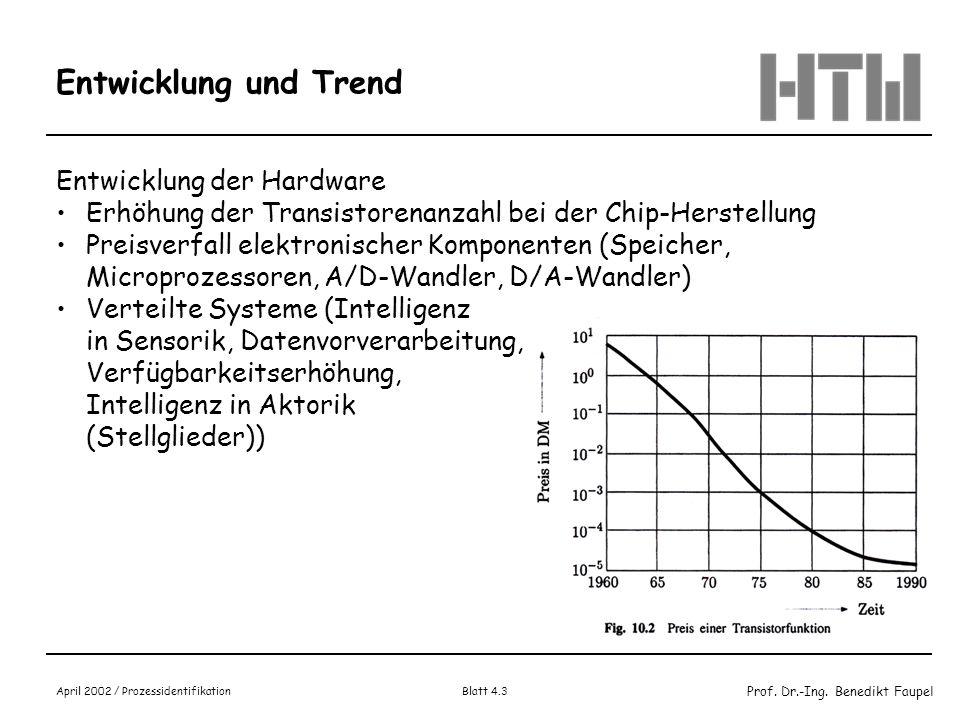Prof. Dr.-Ing. Benedikt Faupel April 2002 / Prozessidentifikation Blatt 4.3 Entwicklung und Trend Entwicklung der Hardware Erhöhung der Transistorenan