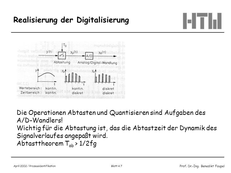 Prof. Dr.-Ing. Benedikt Faupel April 2002 / Prozessidentifikation Blatt 4.7 Realisierung der Digitalisierung Die Operationen Abtasten und Quantisieren