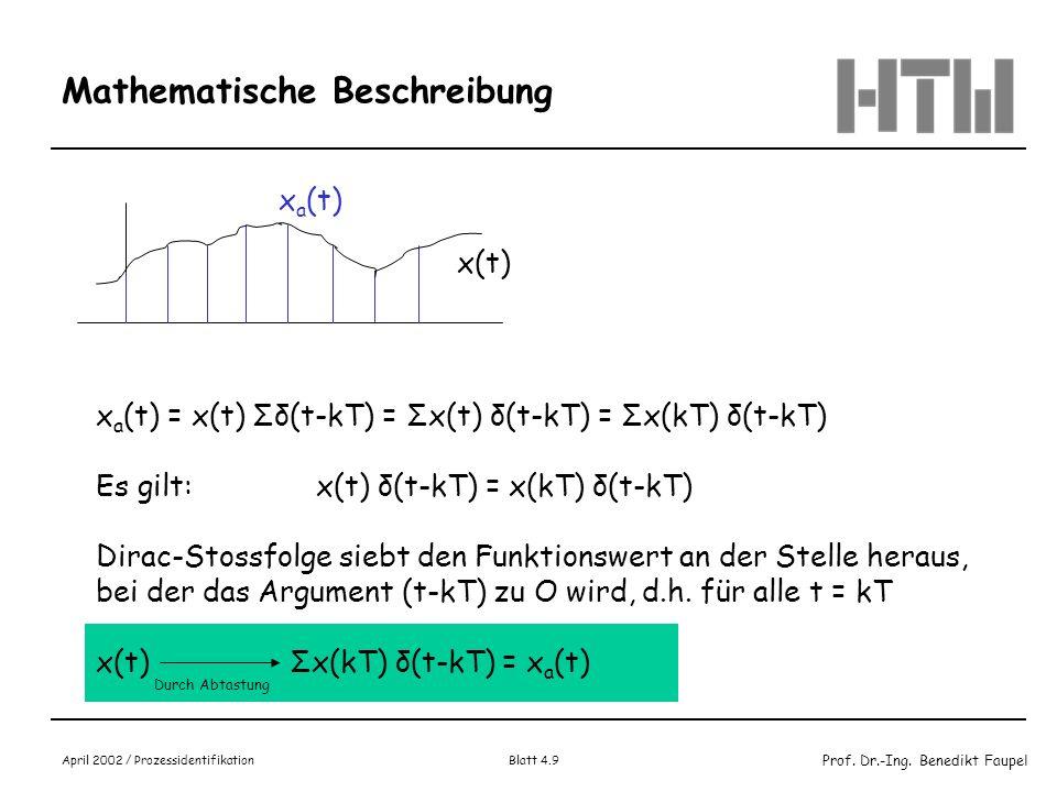 Prof. Dr.-Ing. Benedikt Faupel April 2002 / Prozessidentifikation Blatt 4.9 Mathematische Beschreibung x a (t) = x(t) Σδ(t-kT) = Σx(t) δ(t-kT) = Σx(kT