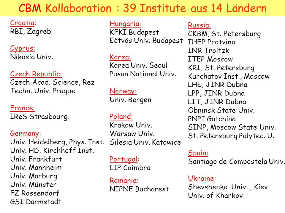 CBM Kollaboration : 39 Institute aus 14 Ländern Croatia: RBI, Zagreb Cyprus: Nikosia Univ. Czech Republic: Czech Acad. Science, Rez Techn. Univ. Pragu