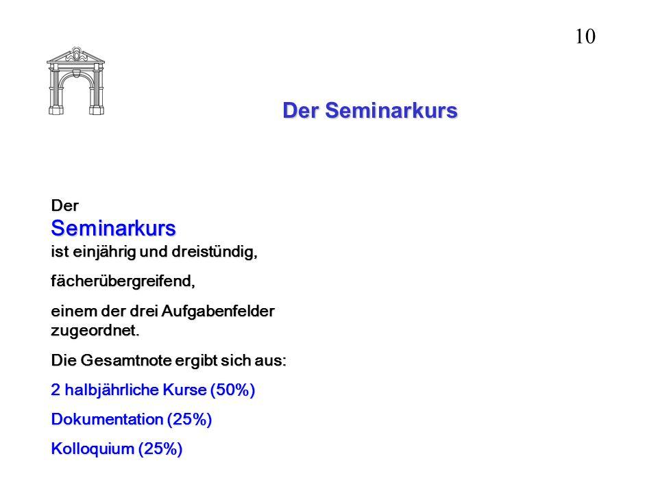 Der Seminarkurs Der Seminarkurs ist einjährig und dreistündig, fächerübergreifend, einem der drei Aufgabenfelder zugeordnet. Die Gesamtnote ergibt sic