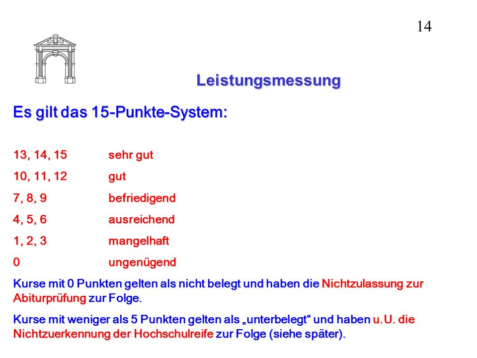 Leistungsmessung Es gilt das 15-Punkte-System: 13, 14, 15sehr gut 10, 11, 12gut 7, 8, 9befriedigend 4, 5, 6ausreichend 1, 2, 3mangelhaft 0ungenügend K