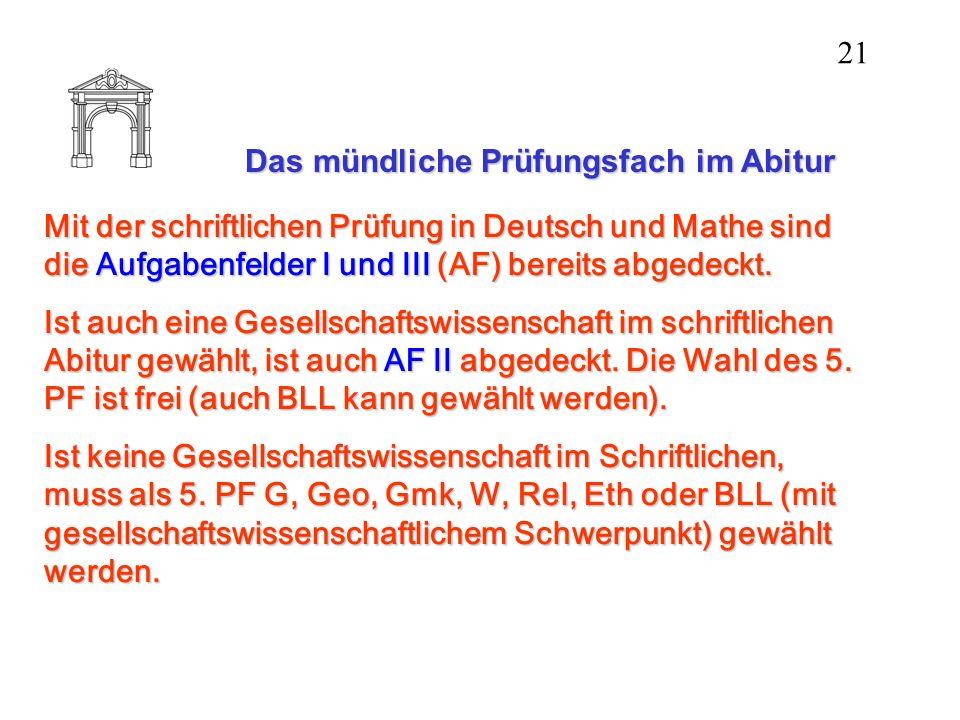Das mündliche Prüfungsfach im Abitur Mit der schriftlichen Prüfung in Deutsch und Mathe sind die Aufgabenfelder I und III (AF) bereits abgedeckt. Ist