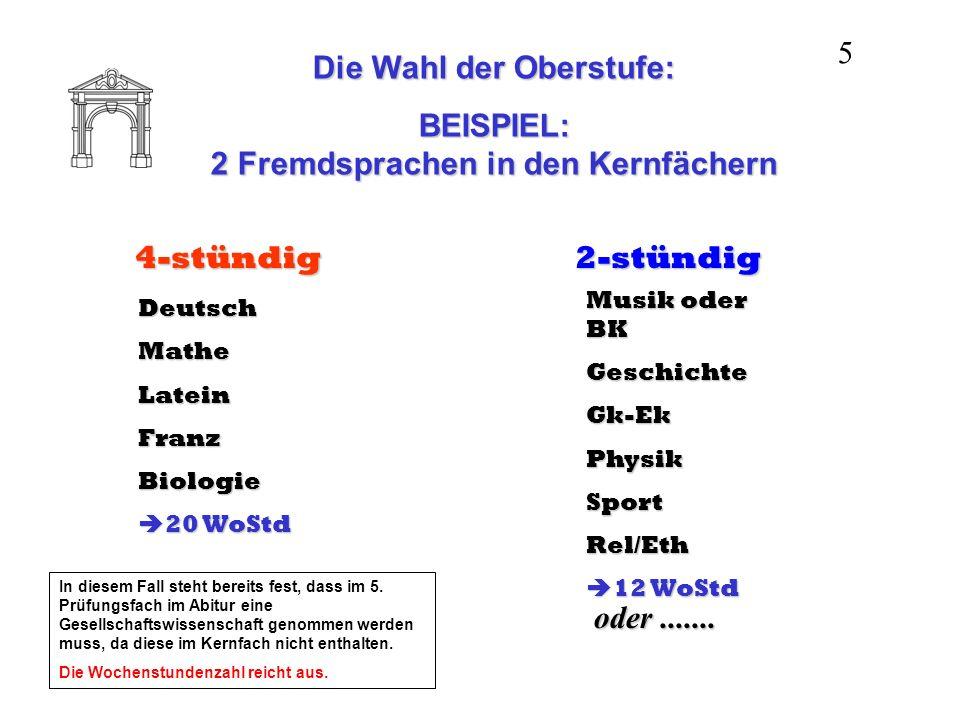 Die Wahl der Oberstufe: BEISPIEL: 2 Fremdsprachen in den Kernfächern 4-stündig DeutschMatheLateinFranzBiologie 20 WoStd 20 WoStd 2-stündig Musik oder