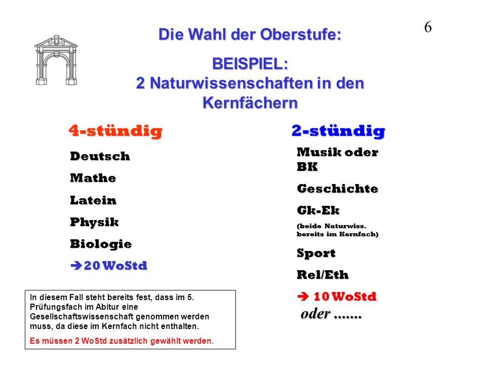 Die Wahl der Oberstufe: BEISPIEL: Musik / BK in den Kernfächern 4-stündig DeutschMatheLateinPhysik Musik oder BK 20 WoStd 20 WoStd 2-stündig (Mu / BK bereits im Kernfach) GeschichteGk-EkBiologieSportRel/Eth 10 WoStd 10 WoStd oder.......