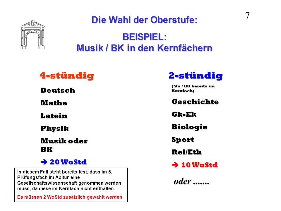 Die Wahl der Oberstufe: BEISPIEL: Musik / BK in den Kernfächern 4-stündig DeutschMatheLateinPhysik Musik oder BK 20 WoStd 20 WoStd 2-stündig (Mu / BK