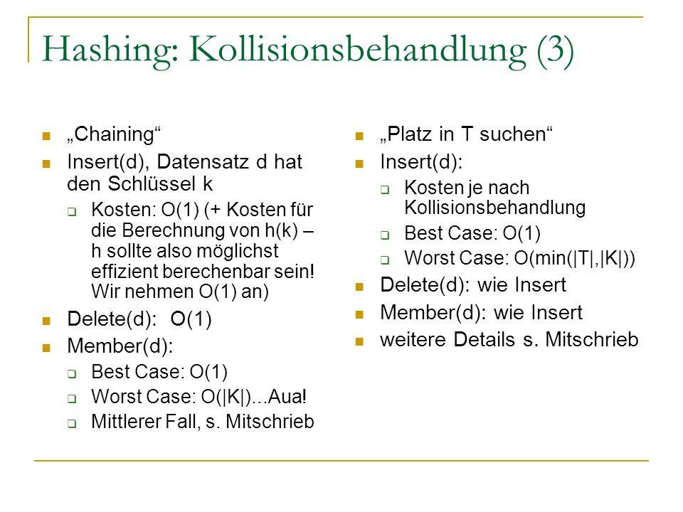 Hashing: Kollisionsbehandlung (3) Chaining Insert(d), Datensatz d hat den Schlüssel k Kosten: O(1) (+ Kosten für die Berechnung von h(k) – h sollte also möglichst effizient berechenbar sein.