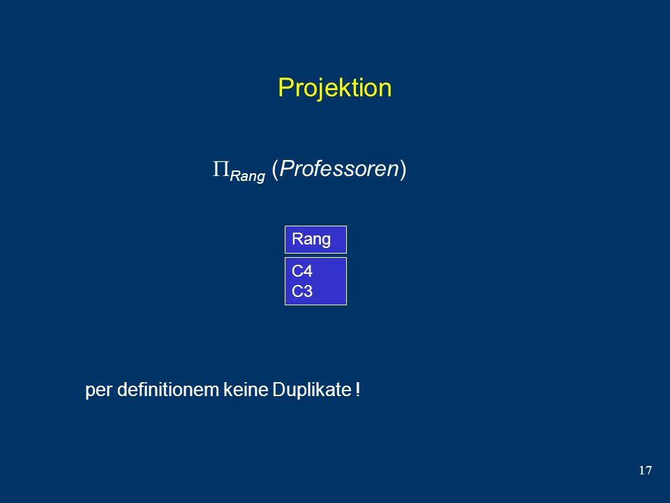 17 Projektion Rang (Professoren) Rang C4 C3 per definitionem keine Duplikate !