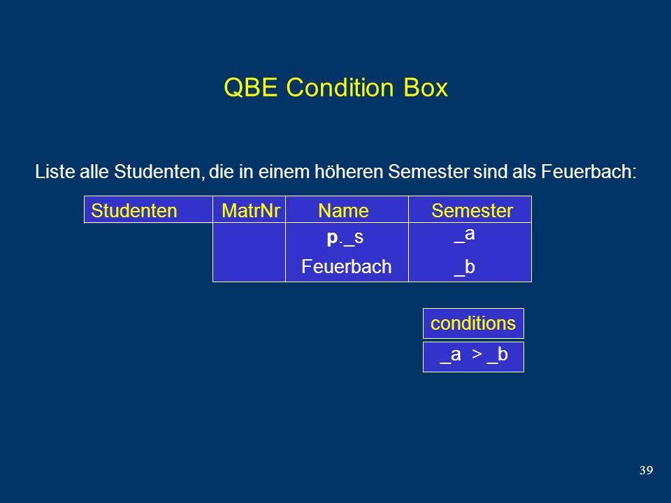 39 QBE Condition Box Liste alle Studenten, die in einem höheren Semester sind als Feuerbach: Studenten MatrNr Name Semesterconditions _a _b p._s _a >