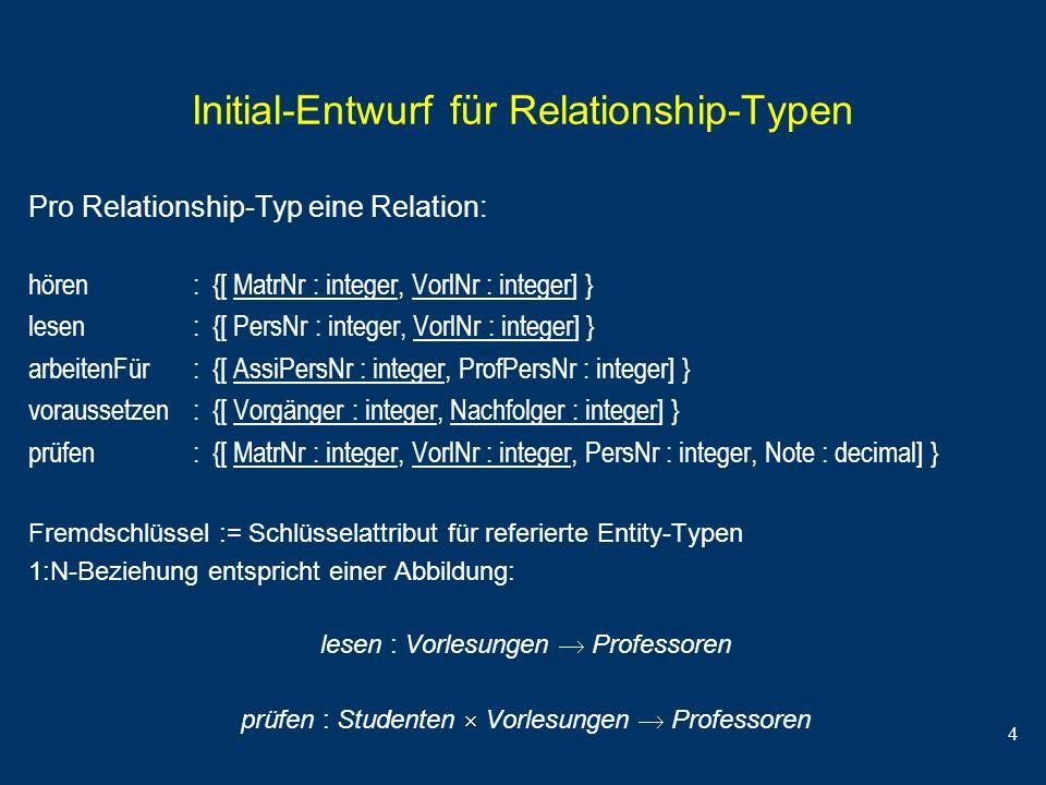 4 Initial-Entwurf für Relationship-Typen Pro Relationship-Typ eine Relation: hören : {[ MatrNr : integer, VorlNr : integer] } lesen : {[ PersNr : inte