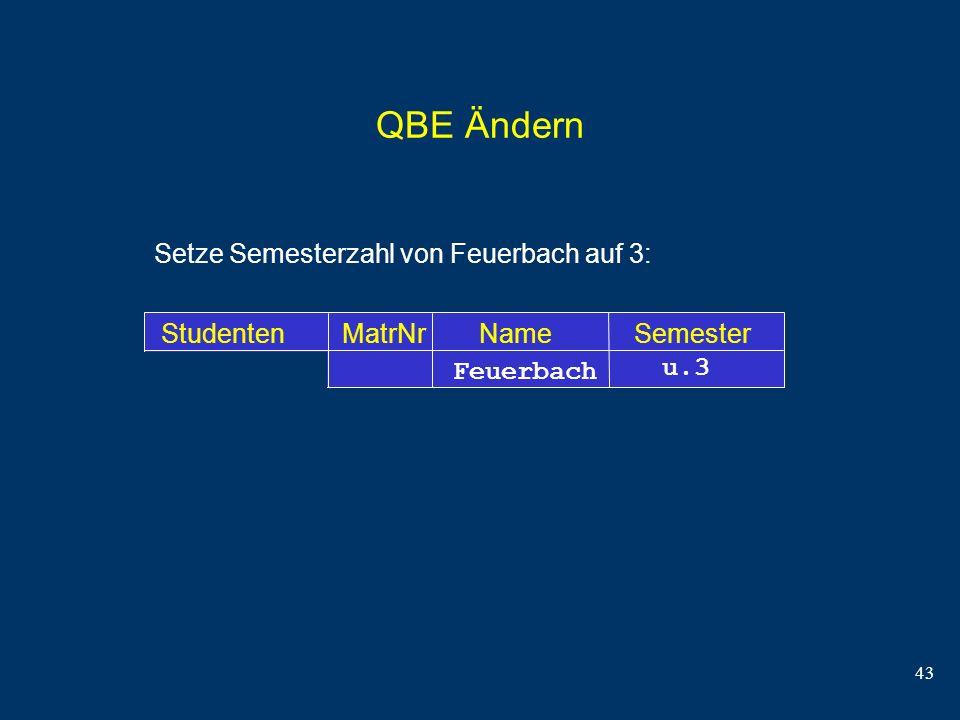 43 QBE Ändern Setze Semesterzahl von Feuerbach auf 3: Studenten MatrNr Name Semester Feuerbach u.3