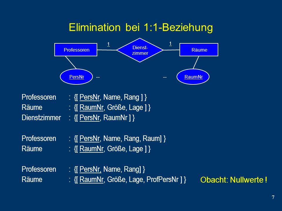 7 Elimination bei 1:1-Beziehung Professoren : {[ PersNr, Name, Rang ] } Räume : {[ RaumNr, Größe, Lage ] } Dienstzimmer : {[ PersNr, RaumNr ] } Profes