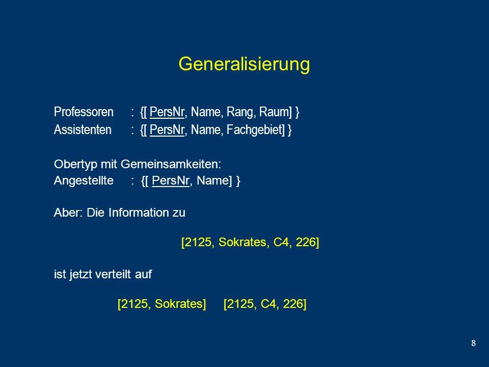 8 Generalisierung Professoren : {[ PersNr, Name, Rang, Raum] } Assistenten : {[ PersNr, Name, Fachgebiet] } Obertyp mit Gemeinsamkeiten: Angestellte :