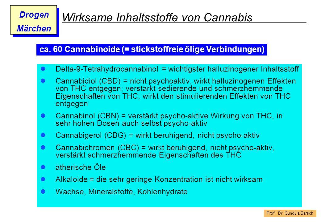 Prof. Dr. Gundula Barsch Drogen Märchen Wirksame Inhaltsstoffe von Cannabis Delta-9-Tetrahydrocannabinol = wichtigster halluzinogener Inhaltsstoff Can