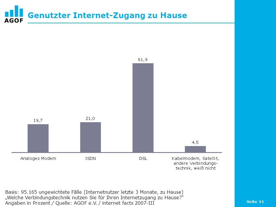 Seite 11 Genutzter Internet-Zugang zu Hause Basis: 95.165 ungewichtete Fälle (Internetnutzer letzte 3 Monate, zu Hause) Welche Verbindungstechnik nutzen Sie für Ihren Internetzugang zu Hause.