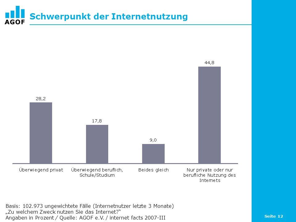 Seite 12 Schwerpunkt der Internetnutzung Basis: 102.973 ungewichtete Fälle (Internetnutzer letzte 3 Monate) Zu welchem Zweck nutzen Sie das Internet?
