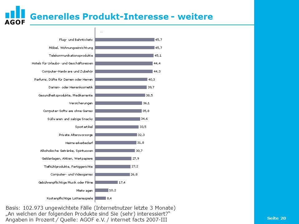 Seite 20 Generelles Produkt-Interesse - weitere Basis: 102.973 ungewichtete Fälle (Internetnutzer letzte 3 Monate) An welchen der folgenden Produkte sind Sie (sehr) interessiert.