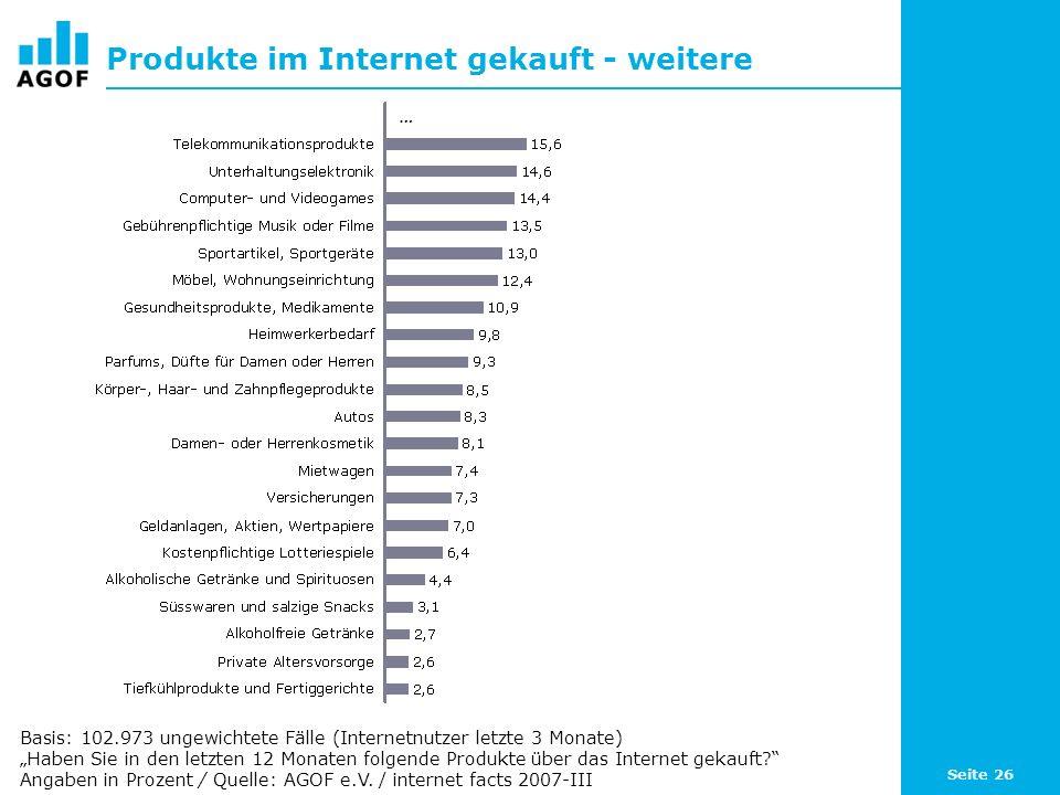 Seite 26 Produkte im Internet gekauft - weitere Basis: 102.973 ungewichtete Fälle (Internetnutzer letzte 3 Monate) Haben Sie in den letzten 12 Monaten