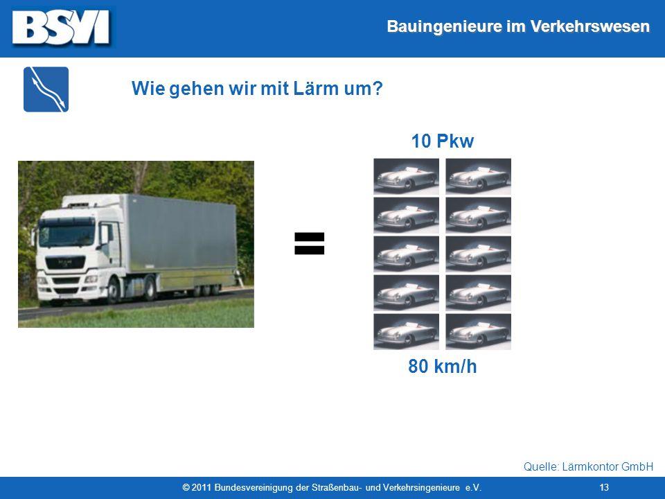 Bauingenieure im Verkehrswesen © 2011 Bundesvereinigung der Straßenbau- und Verkehrsingenieure e.V.13 = 80 km/h 10 Pkw Wie gehen wir mit Lärm um? Quel
