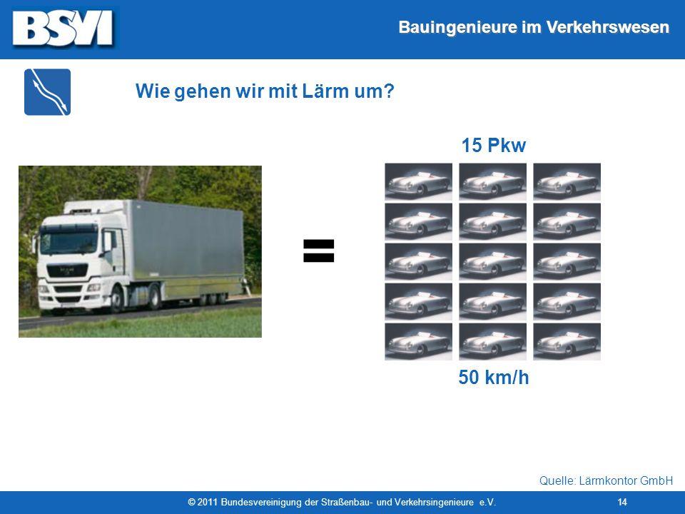 Bauingenieure im Verkehrswesen © 2011 Bundesvereinigung der Straßenbau- und Verkehrsingenieure e.V.14 = 50 km/h 15 Pkw Wie gehen wir mit Lärm um? Quel