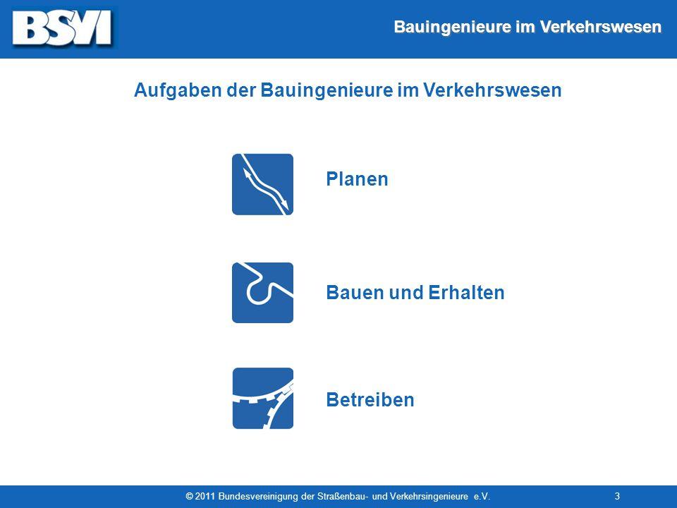 Bauingenieure im Verkehrswesen © 2011 Bundesvereinigung der Straßenbau- und Verkehrsingenieure e.V.3 Aufgaben der Bauingenieure im Verkehrswesen Plane