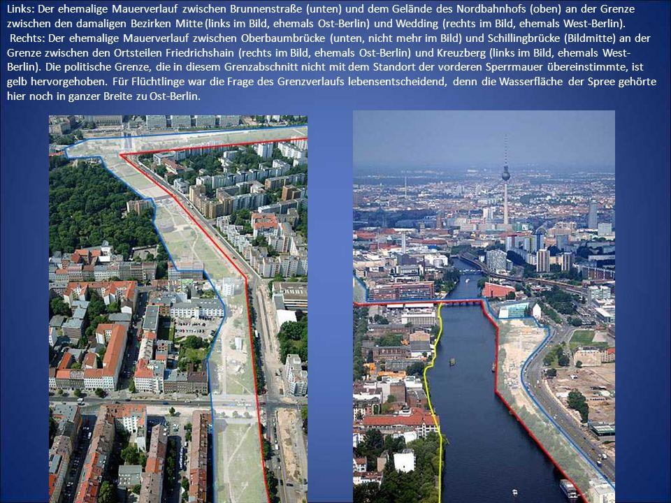 Links: Der ehemalige Mauerverlauf zwischen Brunnenstraße (unten) und dem Gelände des Nordbahnhofs (oben) an der Grenze zwischen den damaligen Bezirken