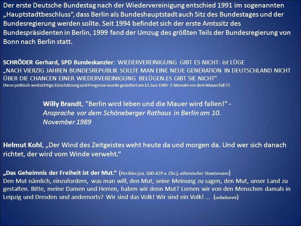 Der erste Deutsche Bundestag nach der Wiedervereinigung entschied 1991 im sogenannten Hauptstadtbeschluss, dass Berlin als Bundeshauptstadt auch Sitz