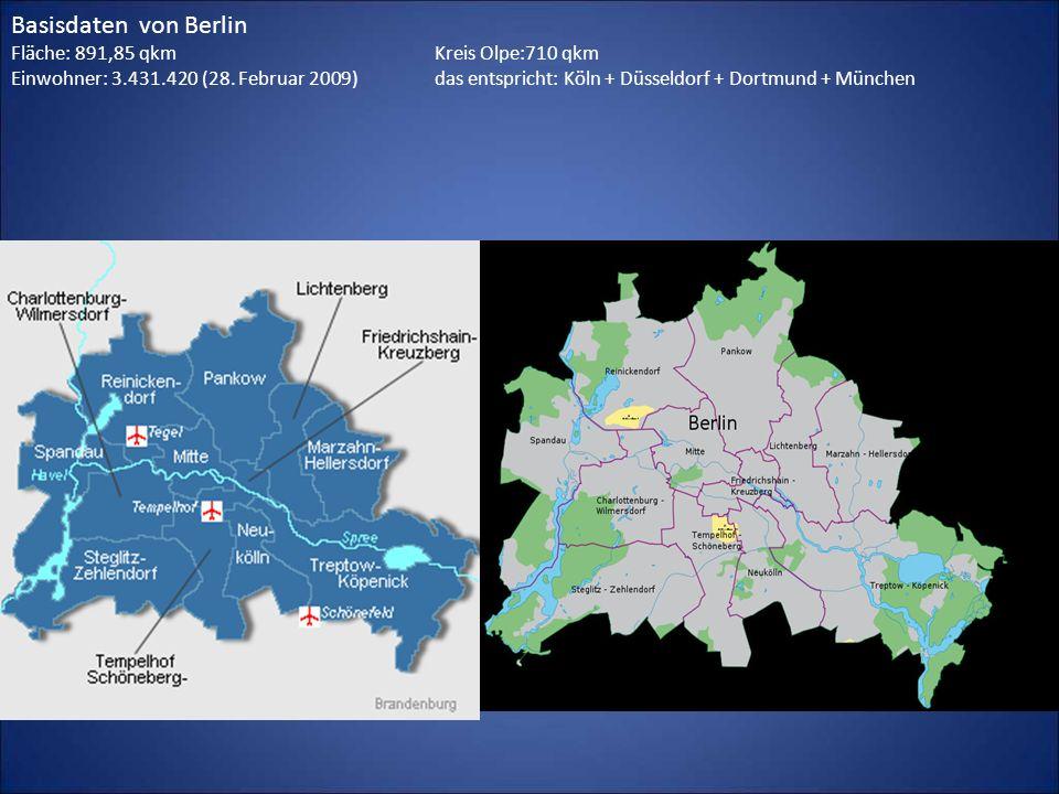 Basisdaten von Berlin Fläche: 891,85 qkm Kreis Olpe:710 qkm Einwohner: 3.431.420 (28. Februar 2009) das entspricht: Köln + Düsseldorf + Dortmund + Mün