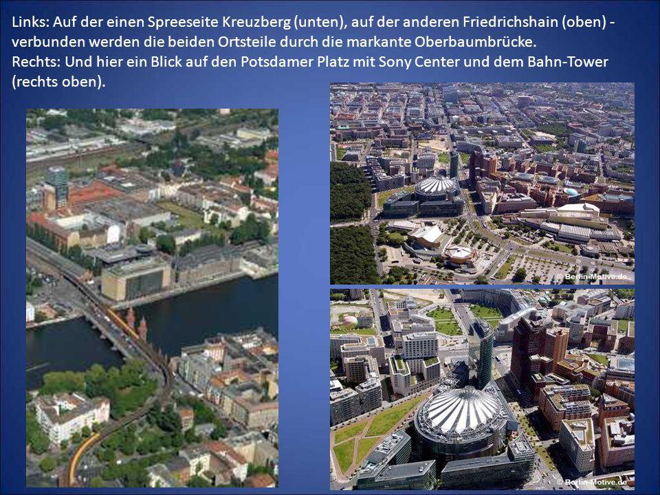 Links: Auf der einen Spreeseite Kreuzberg (unten), auf der anderen Friedrichshain (oben) - verbunden werden die beiden Ortsteile durch die markante Ob