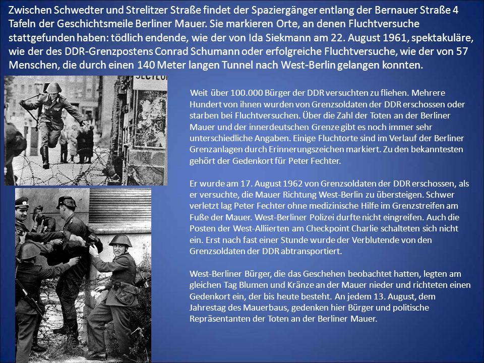 Zwischen Schwedter und Strelitzer Straße findet der Spaziergänger entlang der Bernauer Straße 4 Tafeln der Geschichtsmeile Berliner Mauer. Sie markier