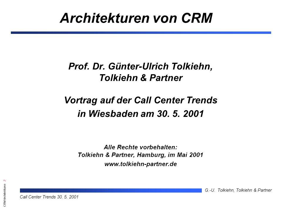 CRM Architekturen 13 G.-U.Tolkiehn, Tolkiehn & Partner Call Center Trends 30.