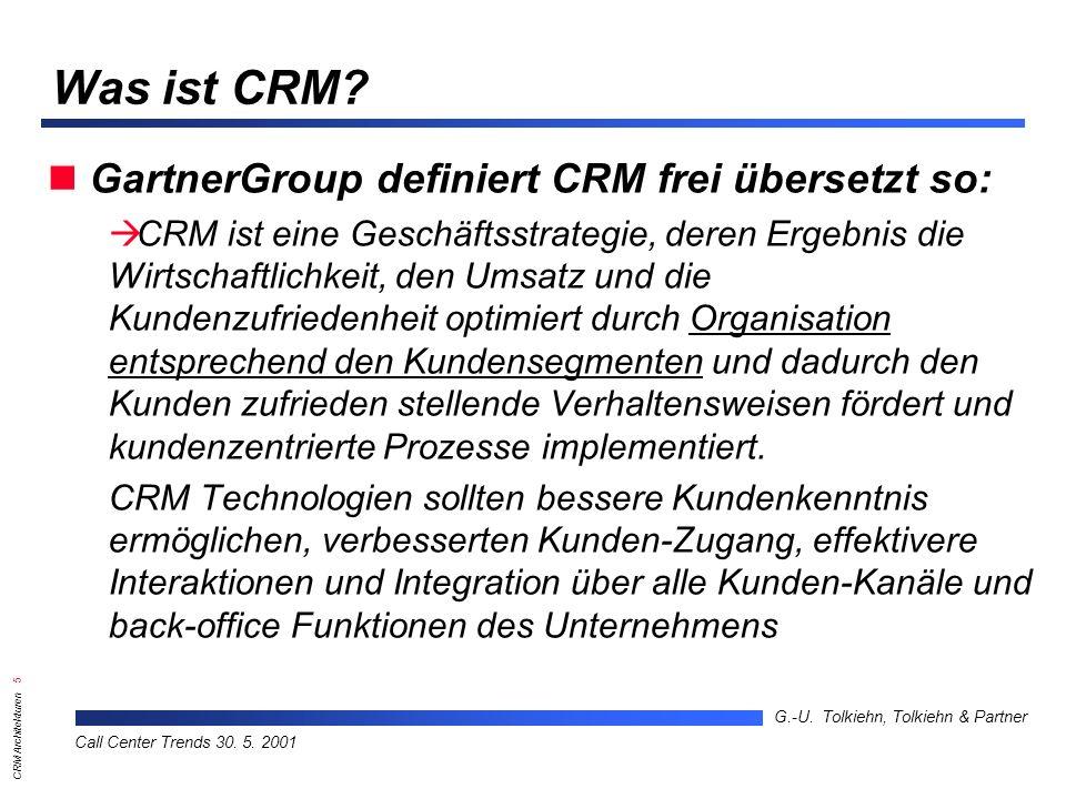 CRM Architekturen 16 G.-U.Tolkiehn, Tolkiehn & Partner Call Center Trends 30.