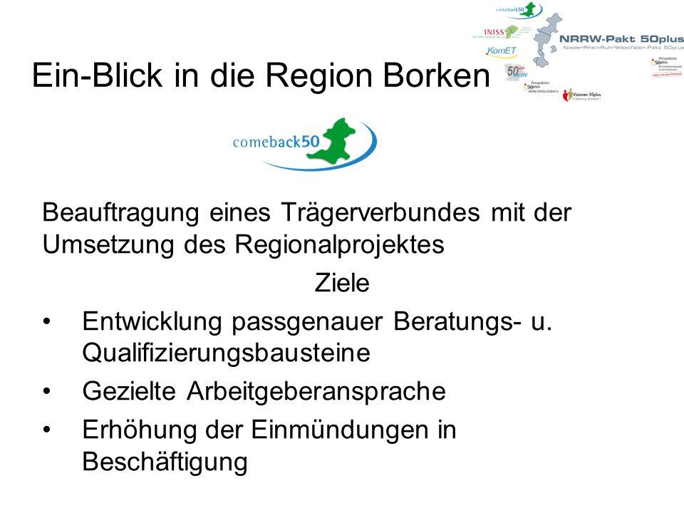 Ein-Blick in die Region Borken Beauftragung eines Trägerverbundes mit der Umsetzung des Regionalprojektes Ziele Entwicklung passgenauer Beratungs- u.