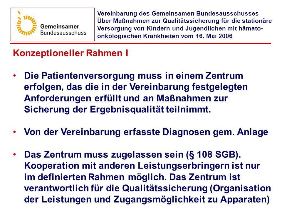 Konzeptioneller Rahmen I Die Patientenversorgung muss in einem Zentrum erfolgen, das die in der Vereinbarung festgelegten Anforderungen erfüllt und an