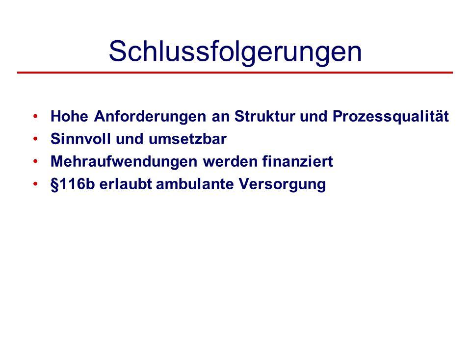 Schlussfolgerungen Hohe Anforderungen an Struktur und Prozessqualität Sinnvoll und umsetzbar Mehraufwendungen werden finanziert §116b erlaubt ambulant