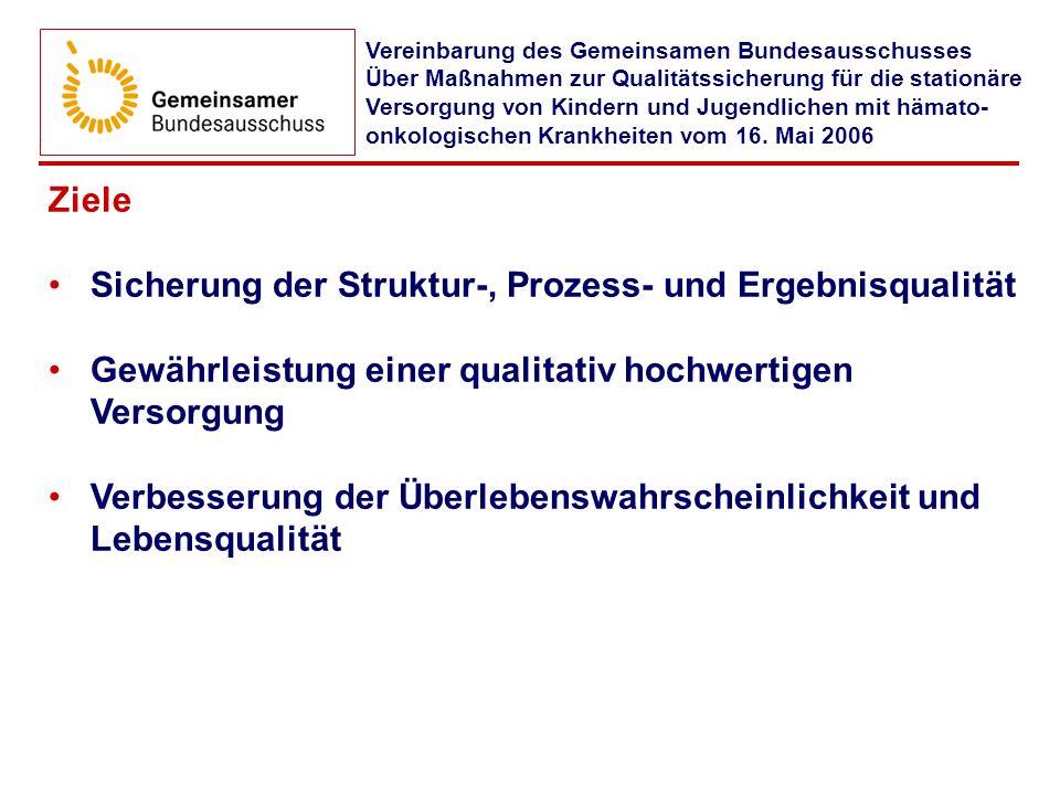 Protokollnotiz Die Partner dieser Vereinbarung haben beschlossen, die pädiatrisch-hämato-onkologische Versorgungsqualität in Deutschland untersuchen zu lassen.