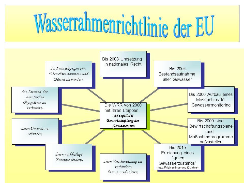 Die WRR von 2000 mit Ihren Etappen. Sie regelt die Bewirtschaftung der Gewässer, um Bis 2003 Umsetzung in nationales Recht Bis 2004 Bestandsaufnahme a