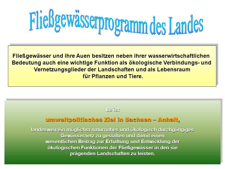 Es ist umweltpolitisches Ziel in Sachsen – Anhalt, landesweit ein möglichst naturnahes und ökologisch durchgängiges Gewässernetz zu gestalten und dami