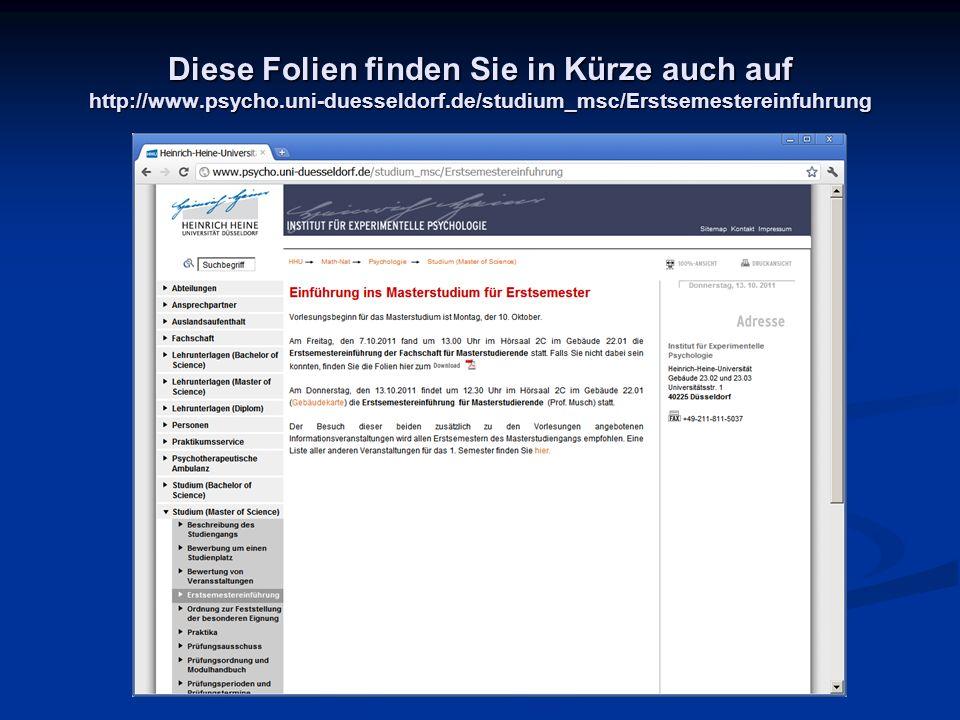 Vorlesungsunterlagen auf http://ilias.uni-duesseldorf.de/