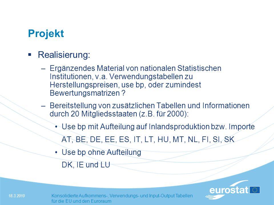 18.3.2010Konsolidierte Aufkommens-, Verwendungs- und Input-Output Tabellen für die EU und den Euroraum Projekt Realisierung: –Ergänzendes Material von nationalen Statistischen Institutionen, v.a.