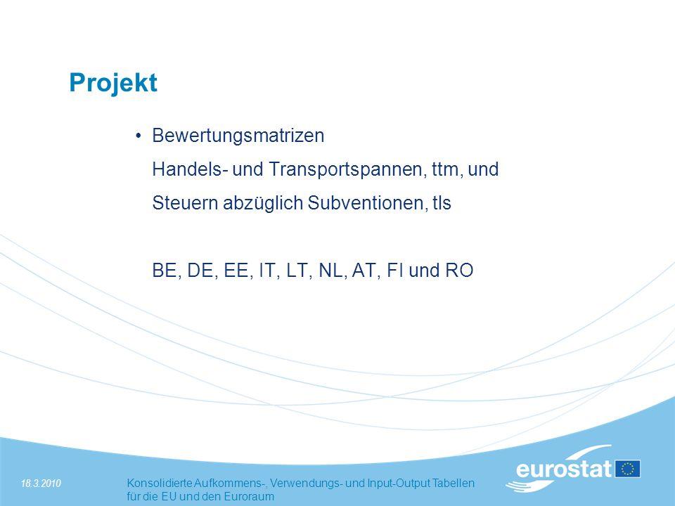 18.3.2010Konsolidierte Aufkommens-, Verwendungs- und Input-Output Tabellen für die EU und den Euroraum Projekt Bewertungsmatrizen Handels- und Transportspannen, ttm, und Steuern abzüglich Subventionen, tls BE, DE, EE, IT, LT, NL, AT, FI und RO