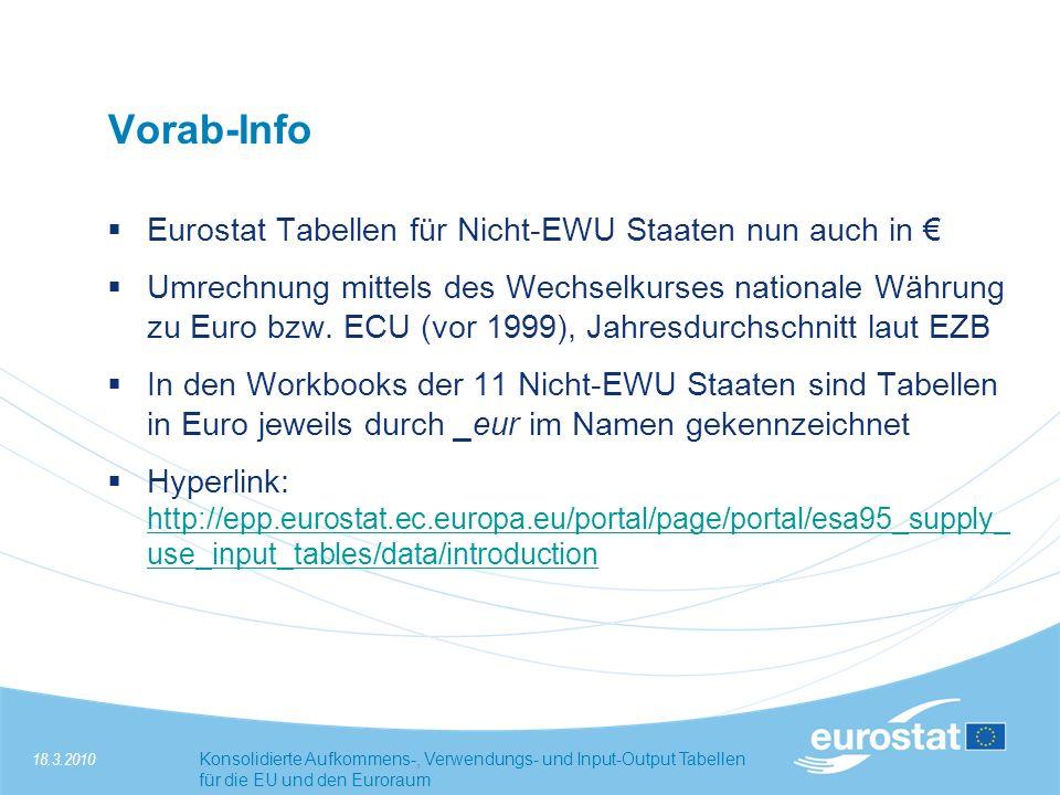 18.3.2010Konsolidierte Aufkommens-, Verwendungs- und Input-Output Tabellen für die EU und den Euroraum Vorab-Info Eurostat Tabellen für Nicht-EWU Staaten nun auch in Umrechnung mittels des Wechselkurses nationale Währung zu Euro bzw.