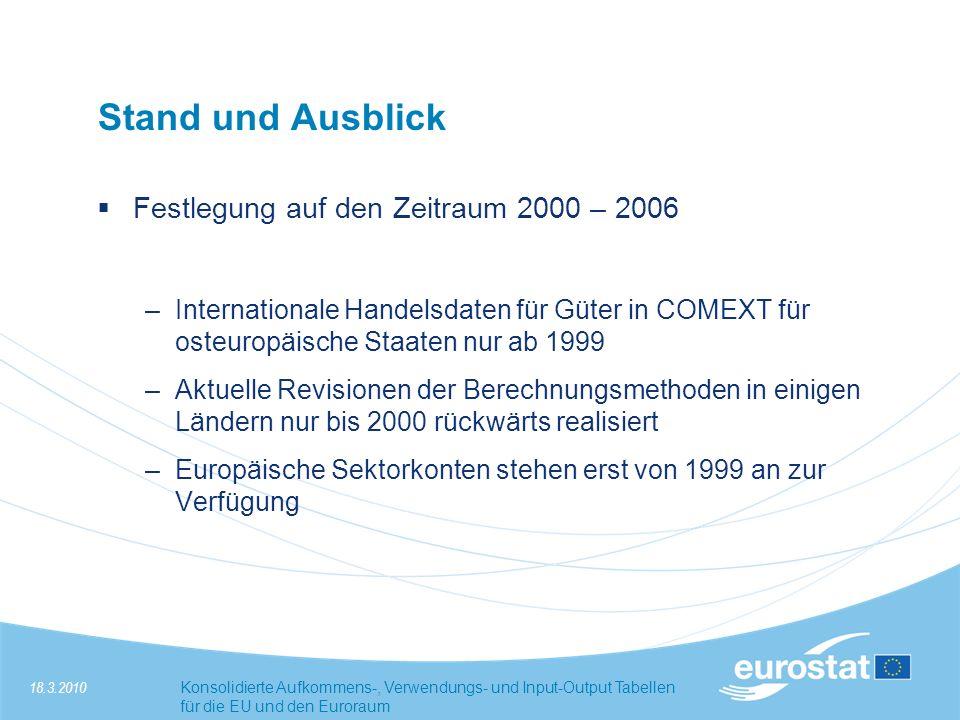 18.3.2010Konsolidierte Aufkommens-, Verwendungs- und Input-Output Tabellen für die EU und den Euroraum Stand und Ausblick Festlegung auf den Zeitraum 2000 – 2006 –Internationale Handelsdaten für Güter in COMEXT für osteuropäische Staaten nur ab 1999 –Aktuelle Revisionen der Berechnungsmethoden in einigen Ländern nur bis 2000 rückwärts realisiert –Europäische Sektorkonten stehen erst von 1999 an zur Verfügung