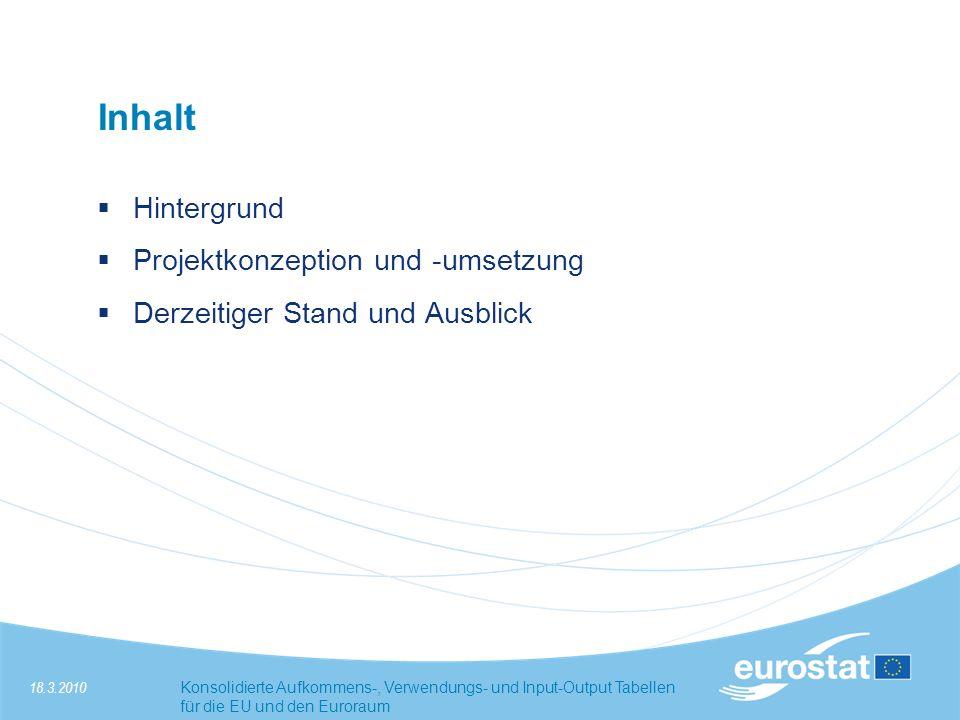 18.3.2010Konsolidierte Aufkommens-, Verwendungs- und Input-Output Tabellen für die EU und den Euroraum Hintergrund Seit einigen Jahren konsolidierte Europäische Sektorkonten (EU und EWU) verfügbar, vierteljährlich u.
