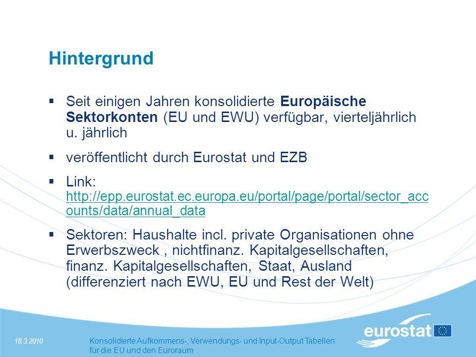 18.3.2010Konsolidierte Aufkommens-, Verwendungs- und Input-Output Tabellen für die EU und den Euroraum Hintergrund Differenzierung der Sektoralen Einflüsse im Zeitablauf, Zerlegung der Entwicklung der Bruttowertschöpfung, etc.