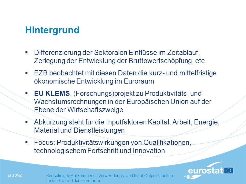 18.3.2010Konsolidierte Aufkommens-, Verwendungs- und Input-Output Tabellen für die EU und den Euroraum Projekt 3.