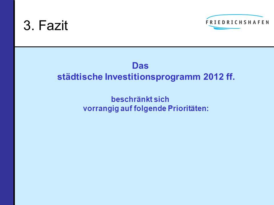 3. Fazit Das städtische Investitionsprogramm 2012 ff. beschränkt sich vorrangig auf folgende Prioritäten: